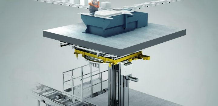 The Winkel Fast Pick station comprises a picking table on a platform and a shaft below with a vertical lift and integrated pallet wrapper.